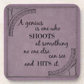 Inspiration motivational genius quotation beverage coasters