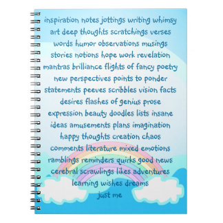 Inspiration Notes Jottings Writing Whimsy Blue Notebook
