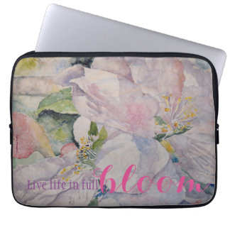 Inspiration Quote Floral Watercolor Art Laptop Sleeve