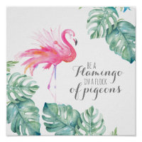 Inspiration Tropical Watercolor Pink Flamingo Poster
