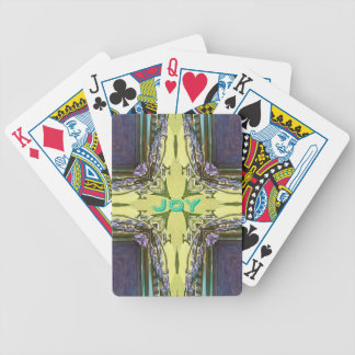Inspirational Abstract Cross Center 'Joy' Shape Bicycle Playing Cards