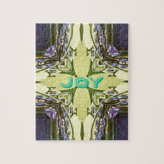 Inspirational Abstract Cross Center 'Joy' Shape Jigsaw Puzzle