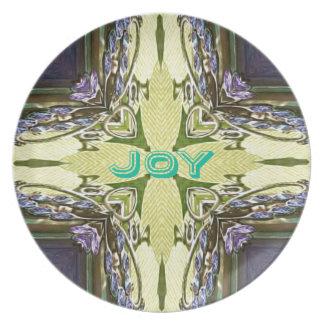 Inspirational Abstract Cross Center 'Joy' Shape Plate