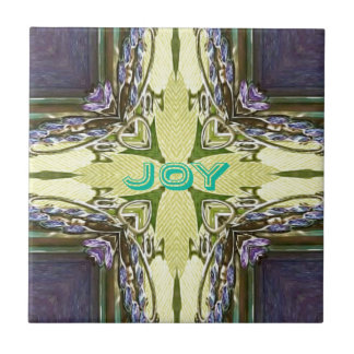 Inspirational Abstract Cross Center 'Joy' Shape Tile