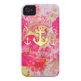 Inspirational anchor and pink poppies art. iPhone 4 Case-Mate case