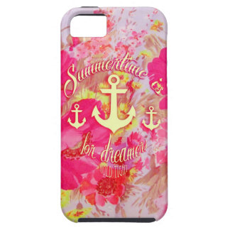 Inspirational anchor and pink poppies art. iPhone SE/5/5s case