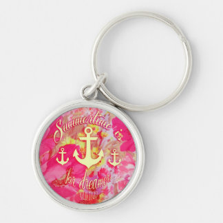 Inspirational anchor and pink poppies art. keychain