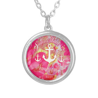 Inspirational anchor and pink poppies art. silver plated necklace