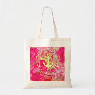 Inspirational anchor and pink poppies art. tote bag