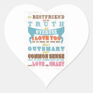 Inspirational Art - Be a Best Friend. Heart Sticker