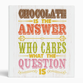 Inspirational Art - Chocolate Is The Answer. Binder