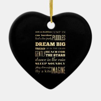 Inspirational Art - Dream Big. Double-Sided Heart Ceramic Christmas Ornament
