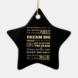 Inspirational Art - Dream Big. Double-Sided Star Ceramic Christmas Ornament
