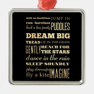 Inspirational Art - Dream Big. Square Metal Christmas Ornament