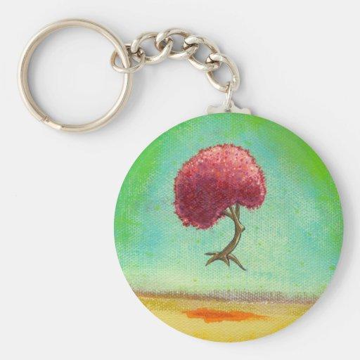 Inspirational art fun modern painting hopeful tree keychain