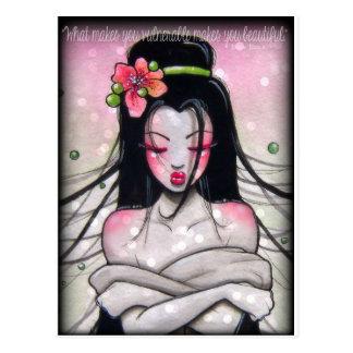 Inspirational Art, Geisha, Pink, Black Postcard