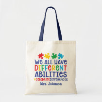 Inspirational Autism Teacher Personalized Tote Bag