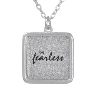 Inspirational Be Fearless Square Pendant Necklace