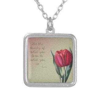Inspirational Beauty Tulip Square Pendant Necklace