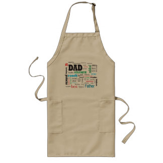 Inspirational Best Father Dad Word Cloud Long Apron
