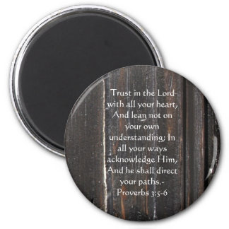 Inspirational Bible Quote Proverbs 3:5-6 2 Inch Round Magnet