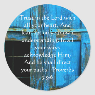 Inspirational Bible Quote Proverbs 3:5-6 Classic Round Sticker