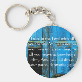Inspirational Bible Quote Proverbs 3:5-6 Basic Round Button Keychain