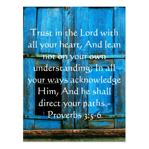 Inspirational Bible Quote Proverbs 3:5-6 Post Cards
