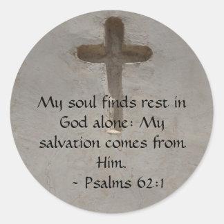 Inspirational Bible quote Psalms 62:1 Classic Round Sticker