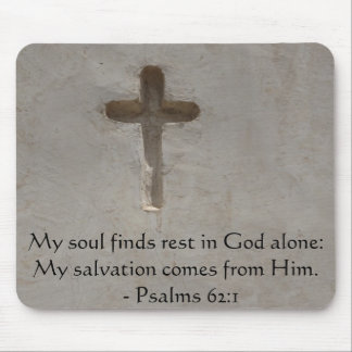 Inspirational Bible quote Psalms 62:1 Mouse Pad