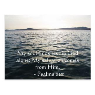 Inspirational Bible quote Psalms 62:1 Postcard