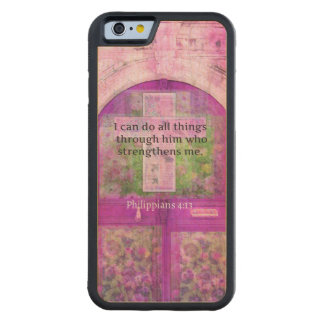 Inspirational Bible Verse About Strength & Faith Carved® Maple iPhone 6 Bumper Case
