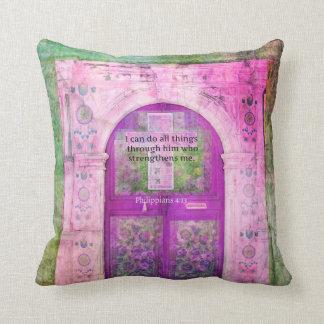 Inspirational Bible Verse About Strength & Faith Pillow