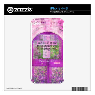 Inspirational Bible Verse About Strength & Faith Skin For The iPhone 4