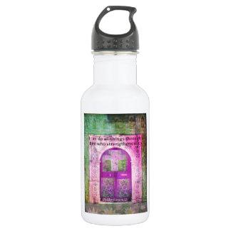 Inspirational Bible Verse About Strength & Faith Water Bottle
