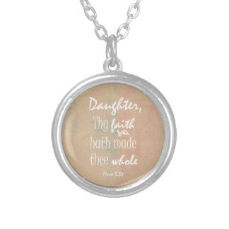 Inspirational Bible Verse for Women Round Pendant Necklace