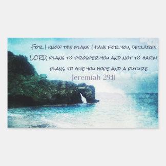 Inspirational Bible Verse Jeremiah 29:11 Rectangular Sticker
