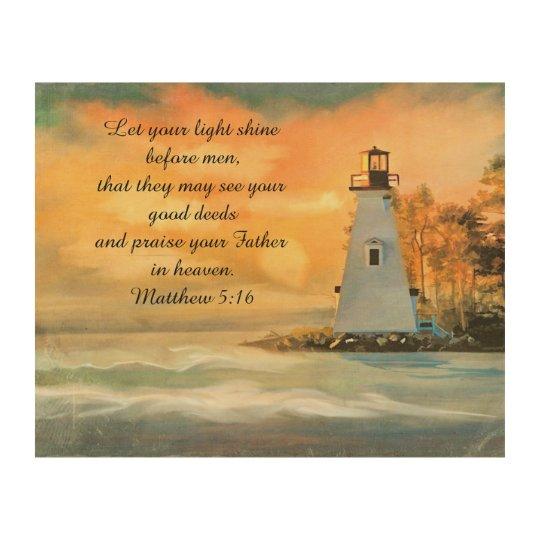 Inspirational Bible Verse Lighthouse Sunset Wood Print ... Wooden Wall Art Quotes