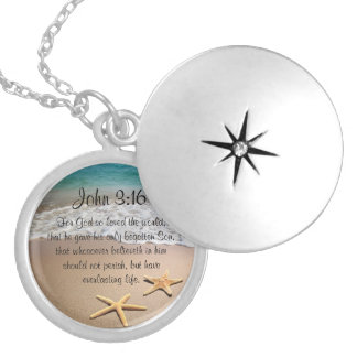 Inspirational Bible Verse Necklace John 3:16 Beach