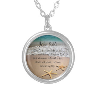 Inspirational Bible Verse Necklace John 3:16 Ocean