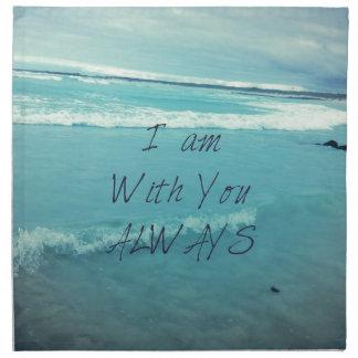 Inspirational Bible Verse ocean - I am With You Cloth Napkin