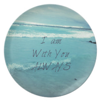 Inspirational Bible Verse ocean - I am With You Dinner Plate