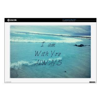 Inspirational Bible Verse ocean - I am With You Laptop Skin