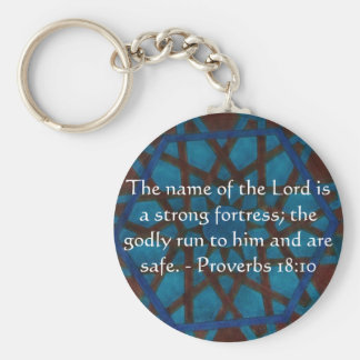 Inspirational Bible verse Proverbs 18:10 Keychain