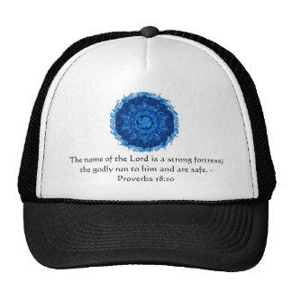 Inspirational Bible verse Proverbs 18:10 Trucker Hat