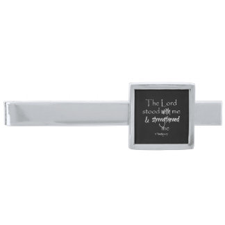 Inspirational Bible Verse Silver Finish Tie Clip