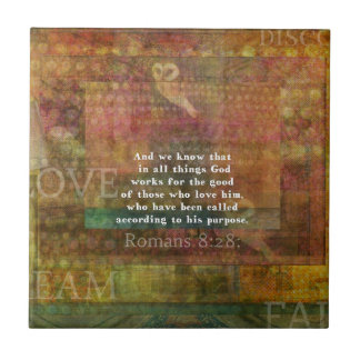 Inspirational Bible Verse Small Square Tile