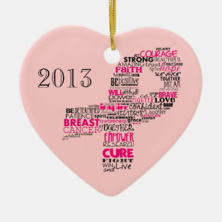 Inspirational Breast Cancer Awareness Ribbon Double-Sided Heart Ceramic Christmas Ornament