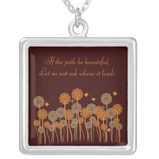 Inspirational Brown & Orange Flowers Customizable Silver Plated Necklace