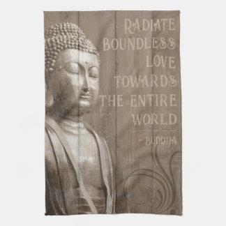 Inspirational Buddha Art Faux Wood Buddhist Quote Kitchen Towel